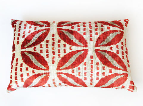 Silk Velvet Ikat Pillow in Red and Ecru Leaf Pattern