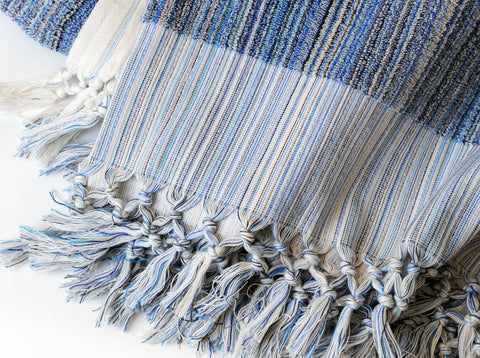 Single-sided Loopy Blanket in Blue Stripes