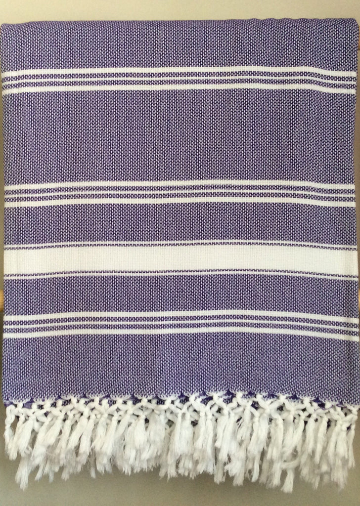 Handwoven Blanket in Purple and White Stripes