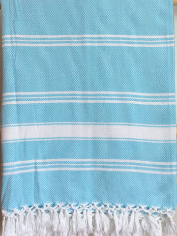 Handwoven Blanket in Turquoise and White Stripes