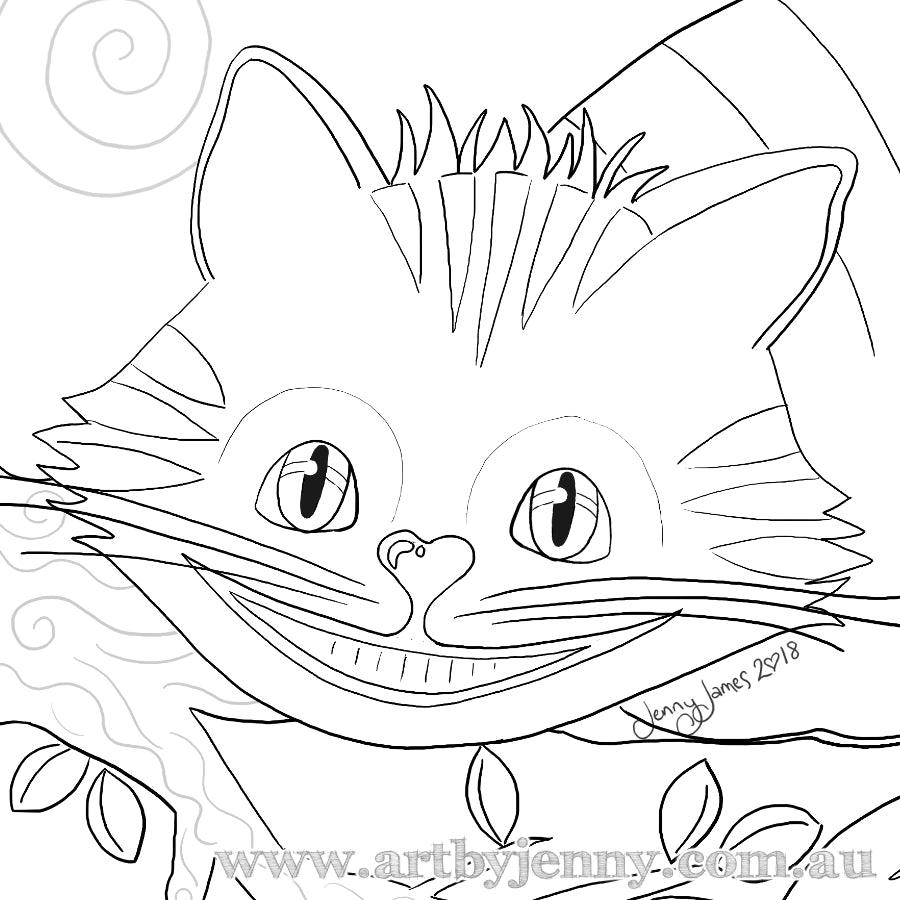 The Magical Cheshire Cat - FREE Template to Colour and Paint