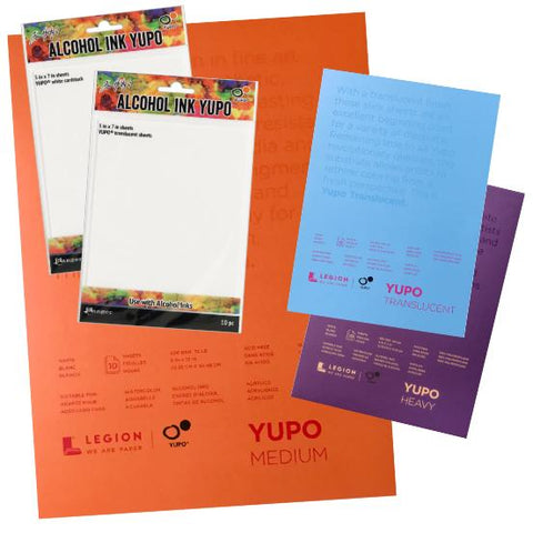 Yupo art surfaces in white and translucent branded by Tim Holtz and Legion Paper