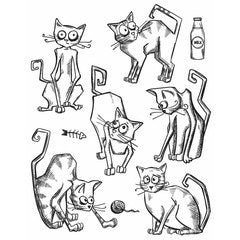 Tim Holtz Crazy Cats stamp set image