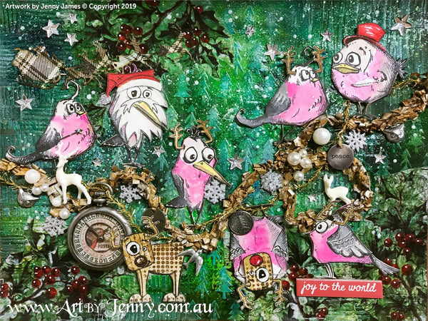 Australian galahs made from stamps having a Christmas party