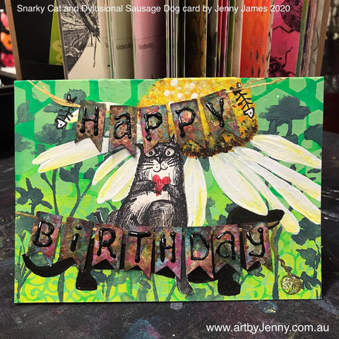 Birthday card made by Jenny James featuring stencils, stamps and Dylusions paint