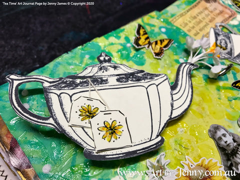 a detail of a beautiful teapot from my collage journal page