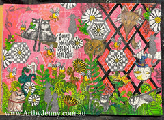 Making art to feel less chaotic within creates cluttered but fun colourful artwork!