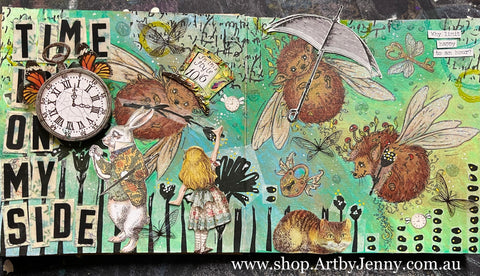 Art by Jenny creates interactive journal page with stamps and embellished layers