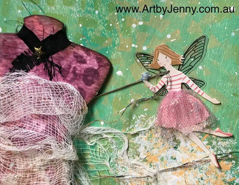 artwork by Jenny James of mixed media using Distress inks and Dylusions Paints
