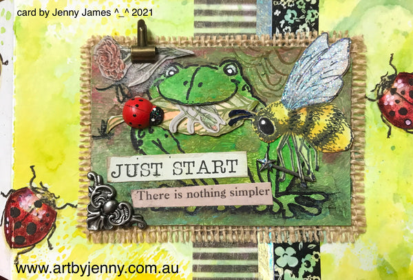 Cardmaking with jenny James using Tim Holtz and Pink Ink Designs stamps