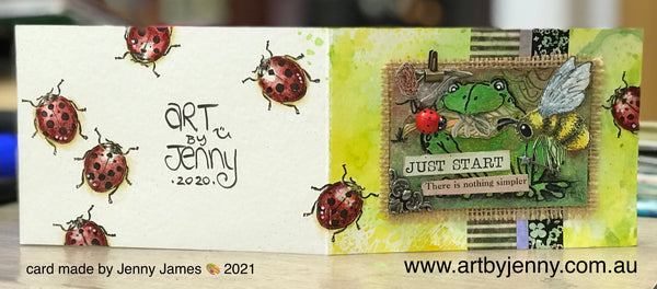 cardmaking with Jenny James using stamps by Tim Holtz and Pink Ink Designs, coloured with Caran D'Ache Neocolor II