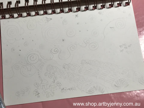sketch that started out as Starry Starry Night drawn by Jenny