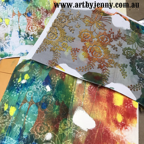 reuse old pieces of lace for gel printing and monoprinting