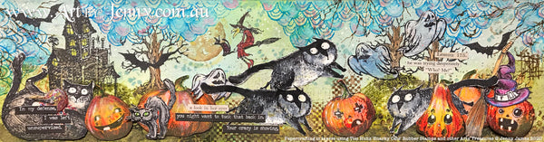 Artwork by Jenny James October 2020 using Tim Holtz stamps and other arty treasures