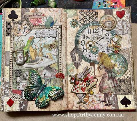 Journal Page featuring Stamperia essentials from Alice in Wonderland and Through the Looking Glass