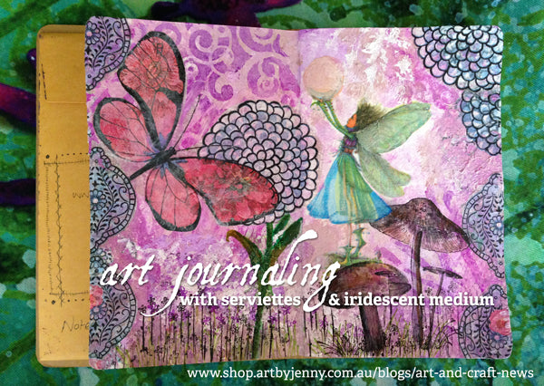 art journaling with serviettes, Dylusions Paint and Liquitex mediums