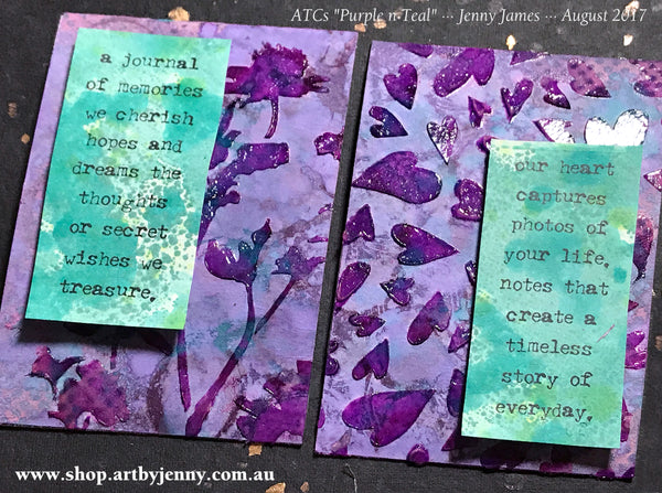 closeup of my ATCs showing the stamped wording