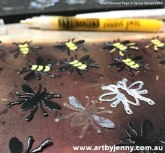 reusing plastic and paper packaging to create dimensional bees for art