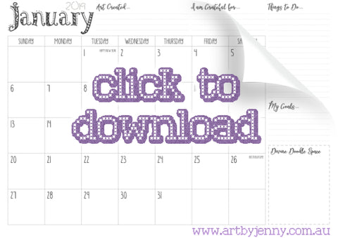 free downloadable printable calendar from 'Art by Jenny' for 2019