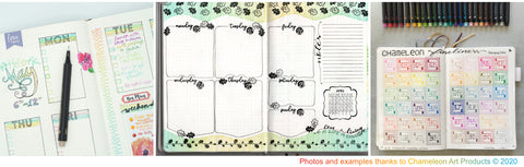 examples of journaling and memory keeping with Chameleon Fineliner Pens