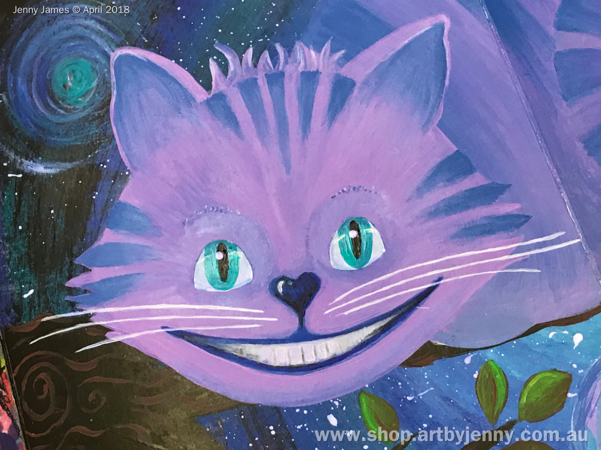 Image of the Cheshire Cat painted using Dylusions acrylic paints with link to Art by Jenny Craft Blog