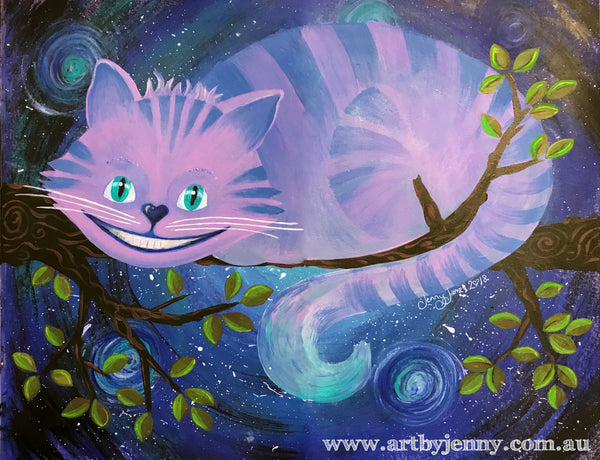 The Cheshire Cat from Alice in Wonderland painted by Jenny