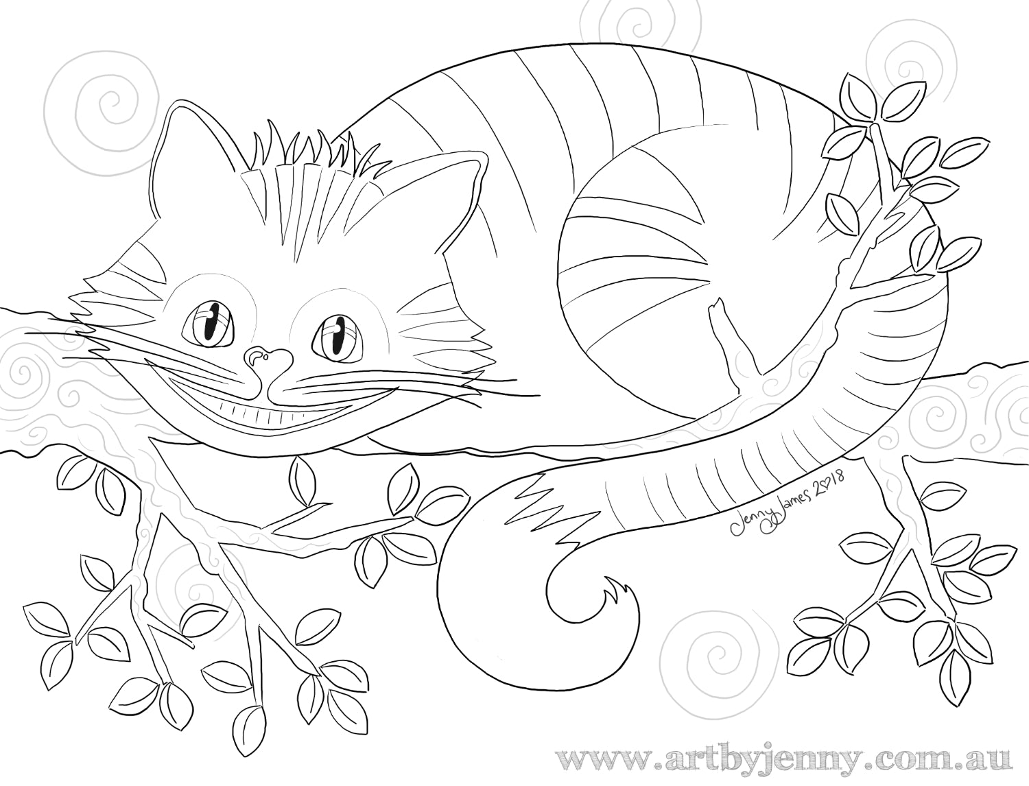 The Magical Cheshire Cat Free Template To Colour And Paint Art