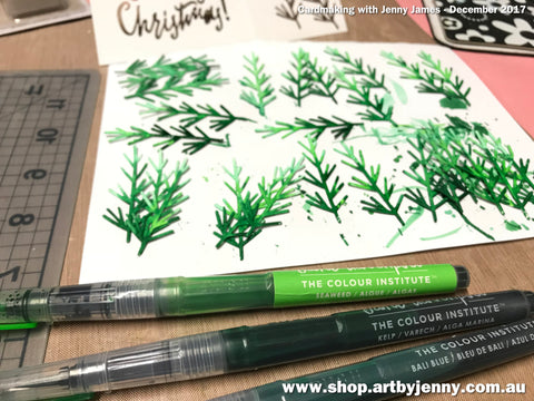 Painting Christmas Trees using Mermaid Markers