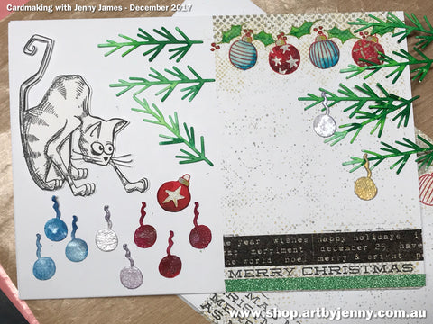 adding miniature baubles christmas ornaments and decorations