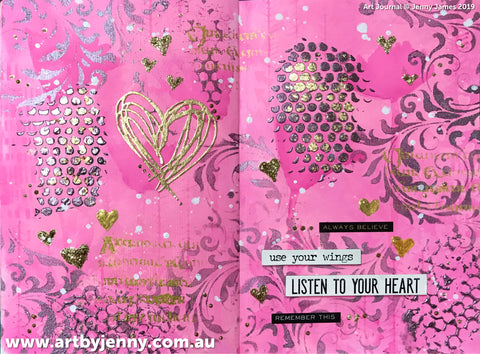 art journal page by Jenny James using Tim Holtz and Finnabair mixed media products