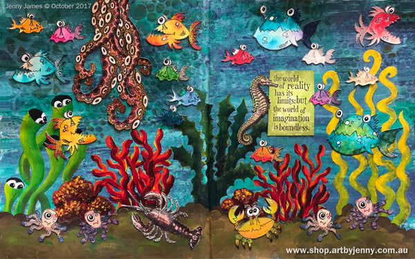 artwork by Jenny James of the Octopus Garden using stamps with a link to my blog post