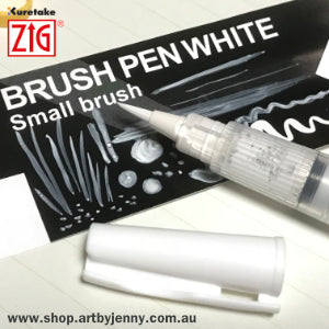 close up photo of Zig Kuretake Brush Pen White for sale in Australia at Art by Jenny