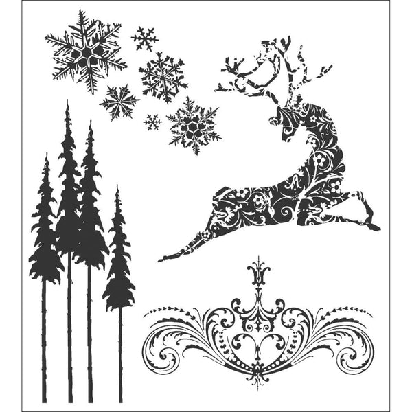 snowflakes, tall pine trees, a flourish and a beautiful reindeer.