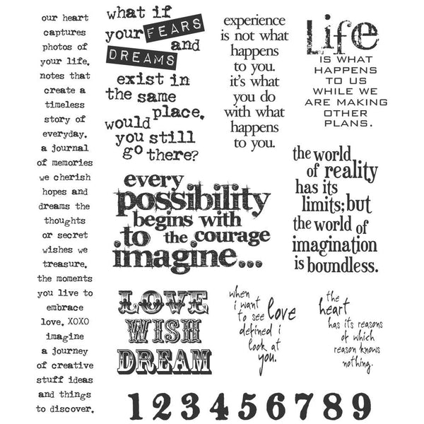 Tim Holtz Cling Stamps - Stuff to Say - quotes for a positive life