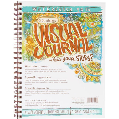 Strathmore Visual Art Journal - Watercolour 90lb - 9x12 Hardcover Wire Bound - 34 Sheets