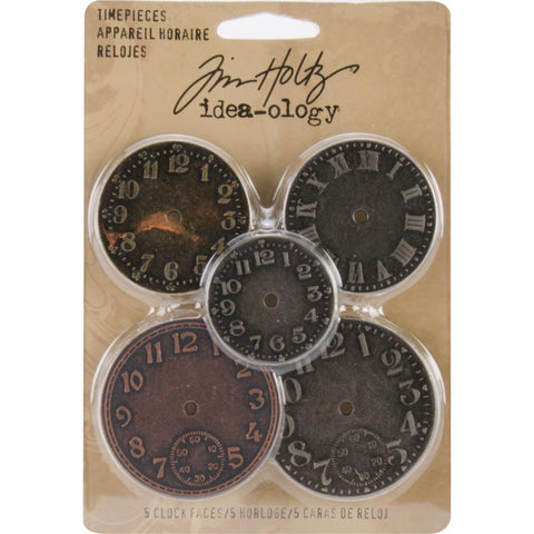 pack of Tim Holtz Idea-Ology - TimePieces - 5 Clock Faces