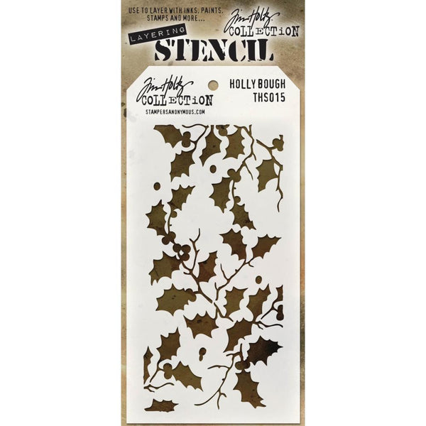 Tim Holtz Layering Stencil, Holly Bough - Delicate branches of holly, perfect for all spring, autumn and of course, Christmas projects!