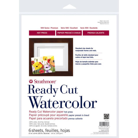 Strathmore Paper Watercolour - Series 500 Hot Press - Ready Cut 11x14