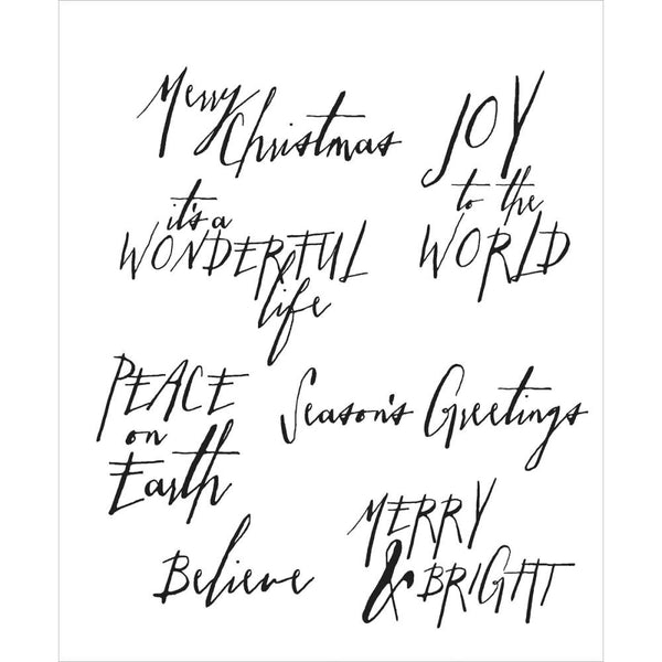 Designed by Tim Holtz, made by Stampers Anonymous. Words and phrases to get creative for and during the Christmas holiday season - 7 stamps in total.