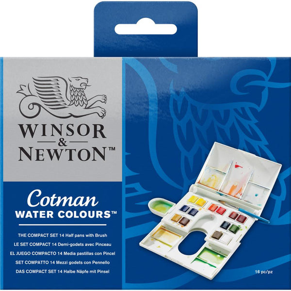 Winsor & Newton Cotman WaterColour Paints - 14 Colours plus a brush and build in palette