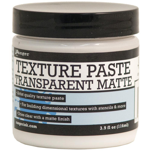 Ranger's artist quality Transparent Matte texture paste is ideal for adding dimensional layers and raised shapes onto a variety of surfaces.