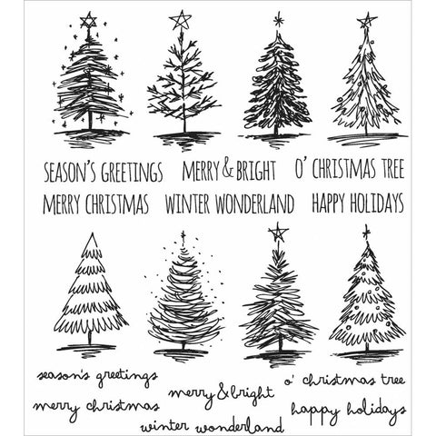 Tim Holtz Cling Rubber Stamp Set, Scribbly Christmas - a variety of pine trees and sayings