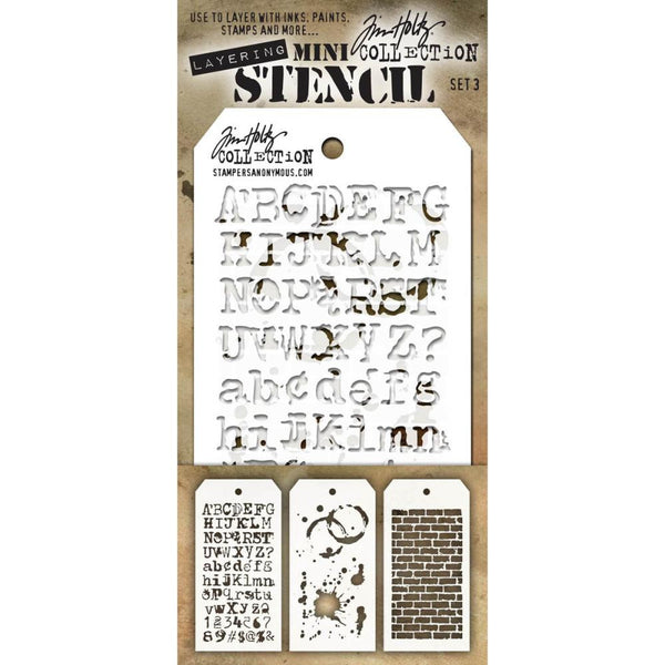 Tim Holtz Layering Mini Stencil - Set 3 - Typo Splatters Bricked