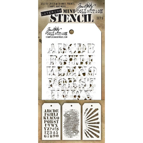 Tim Holtz Layering Mini Stencil - Set 5 - Cargo Bubble Rays
