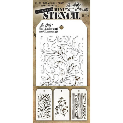 Tim Holtz Layering Mini Stencil - Set 10 - Flourish Wildflower Woodgrain