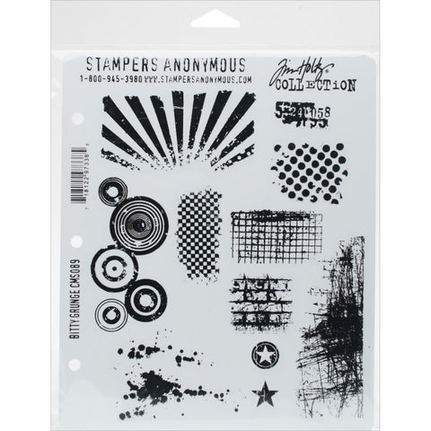 Tim Holtz Bitty Grunge - Cling Rubber Stamp Set