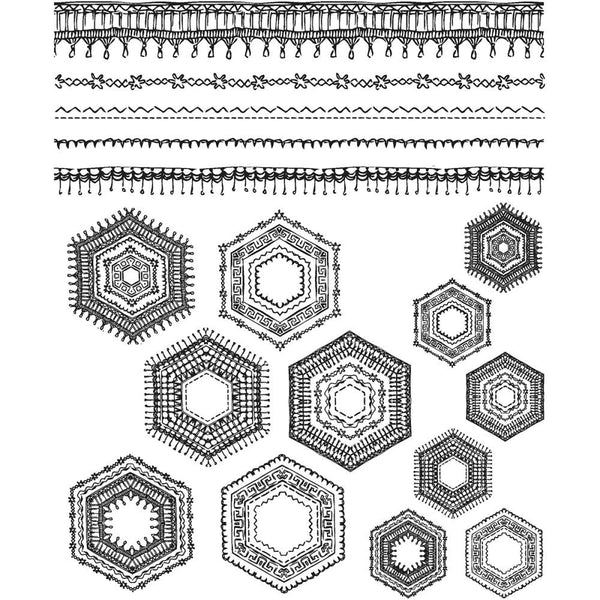 hand drawn stamps of embroidered borders with 12 different hexagons to create your own paper crafted quilt
