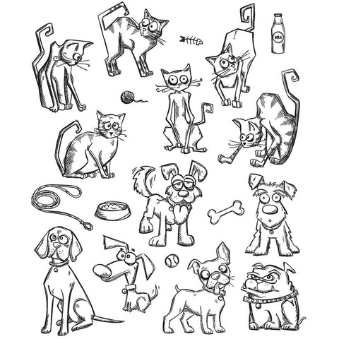 Tim Holtz Cling Stamps - Crazy Mini Cats and Dogs