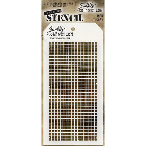 Linen ... this Tim Holtz layering stencil features the traditional cross hatch pattern often seen in evenweave fabrics