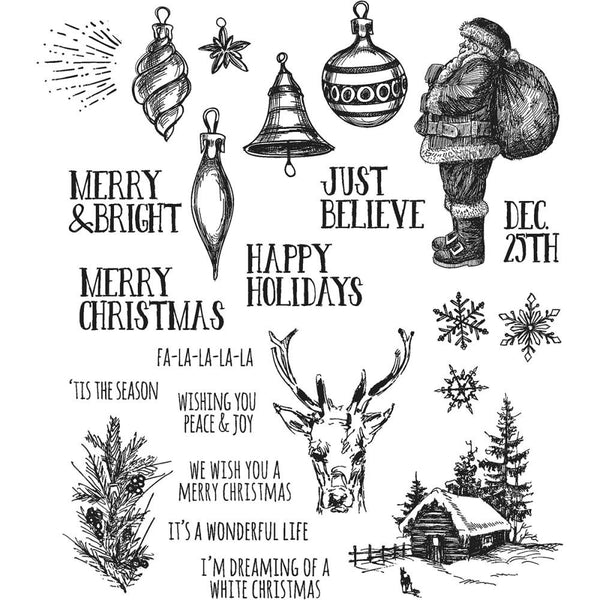 Tim Holtz Cling Stamps - Holiday Drawings